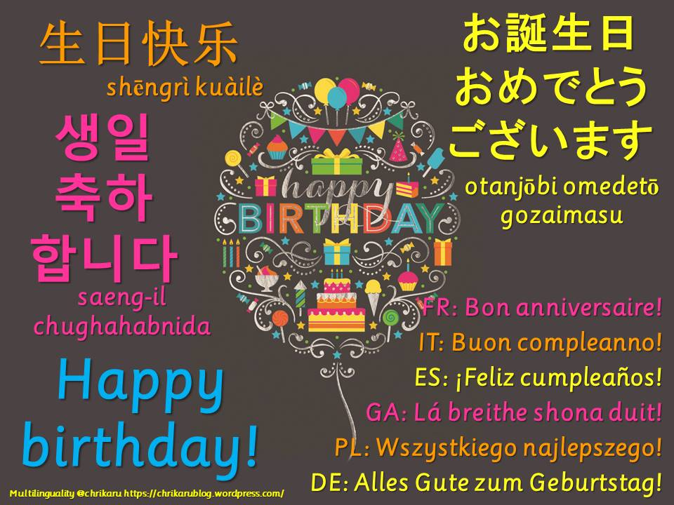 multilingual flashcards birthday