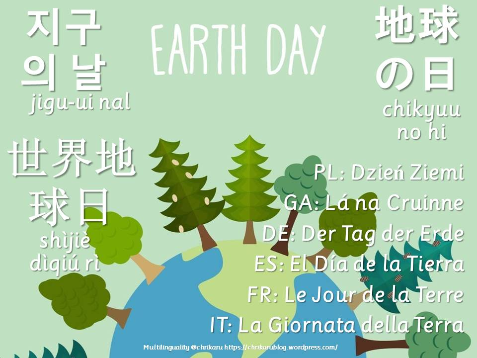 multilingual flashcards earth day