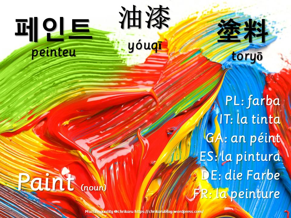 multilingual flashcards paint noun