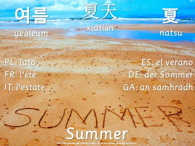 multilingual flashcards summer