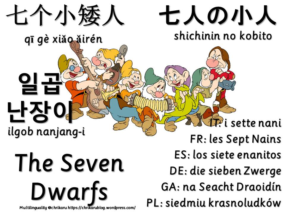 multilingual flashcards seven dwarfs