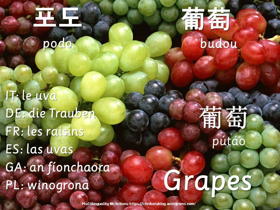 multilingual flashcards grapes