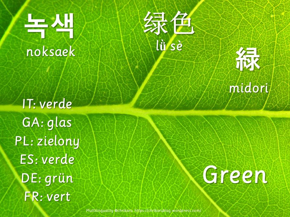 multilingual flashcards green