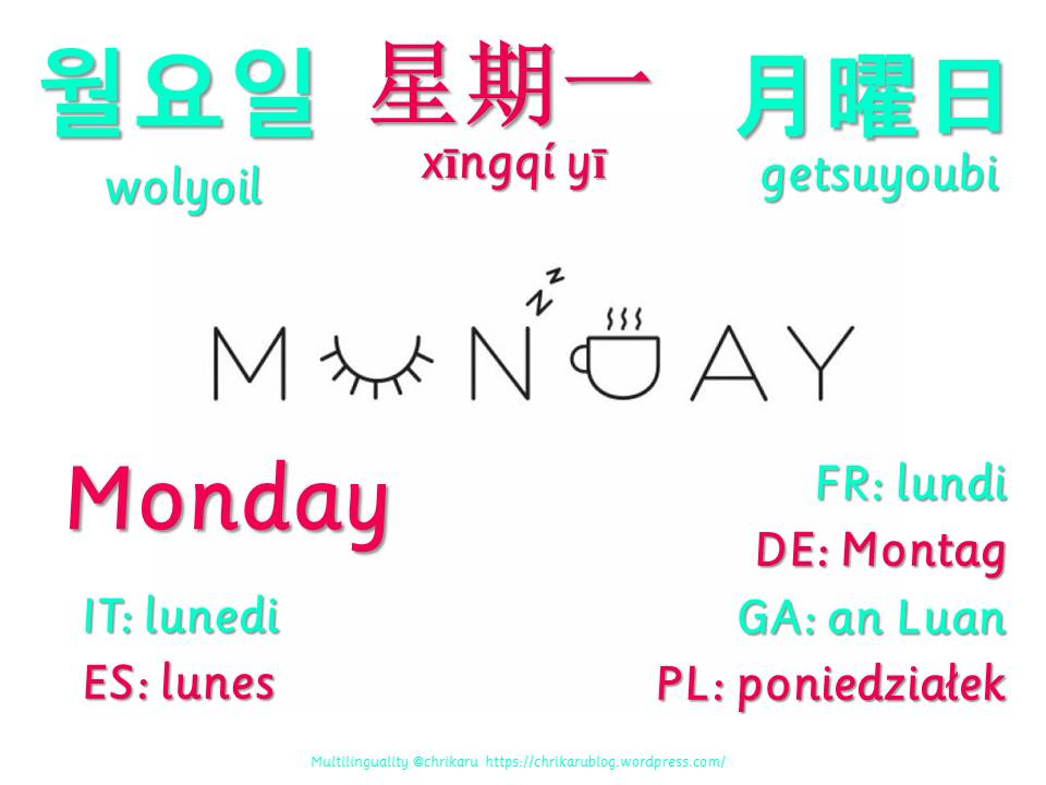 multilingual flashcards monday