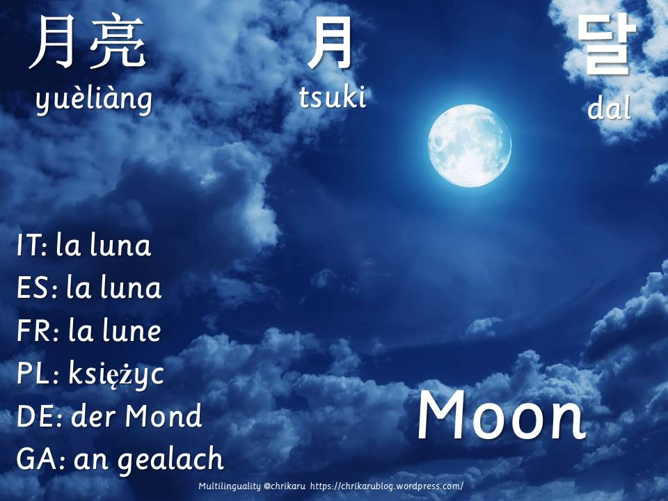multilingual flashcards moon