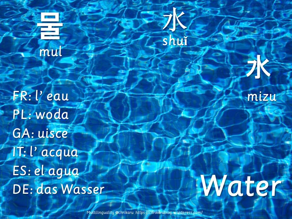 multilingual flashcards water