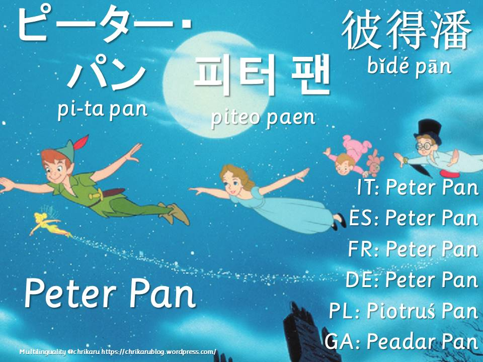 multilingual flashcards peter pan