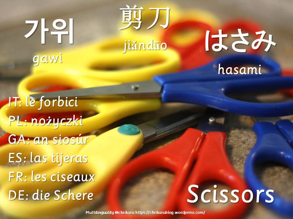 multilingual flashcards scissors