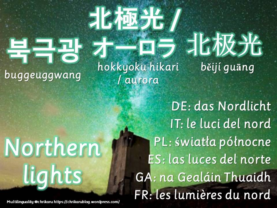 multilingual flashcards northern lights