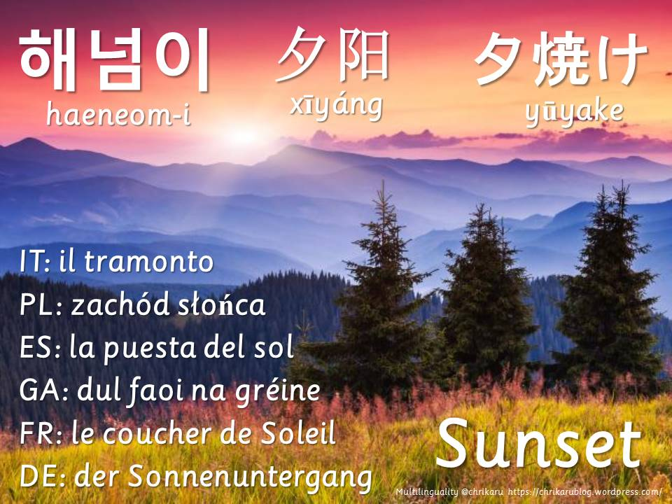 multilingual flashcards sunset