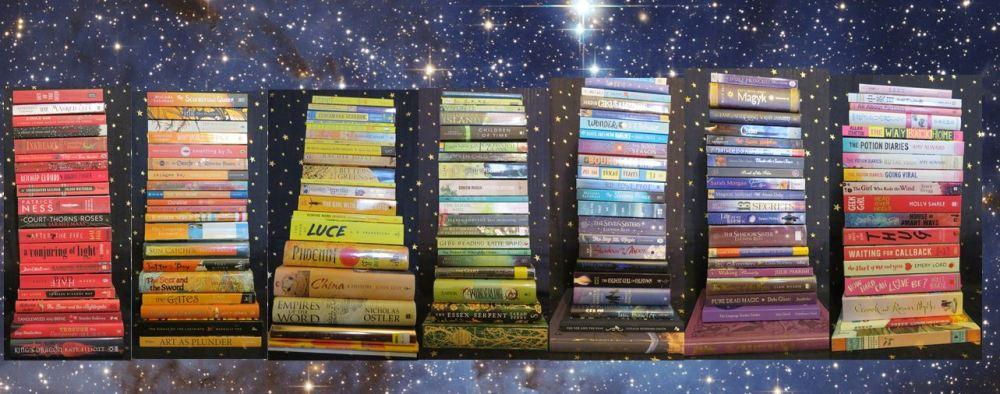 bookshelf rainbow