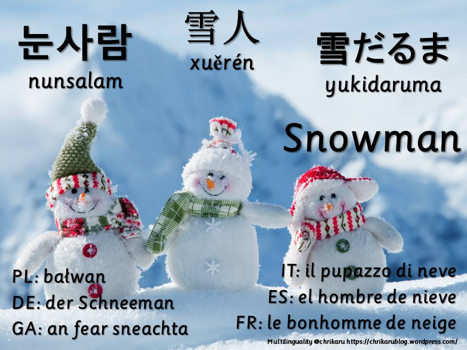 multilingual flashcards snowman