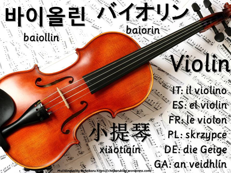 multilingual flashcards violin